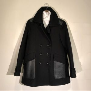 Coach Wool Peacoat with Leather Details